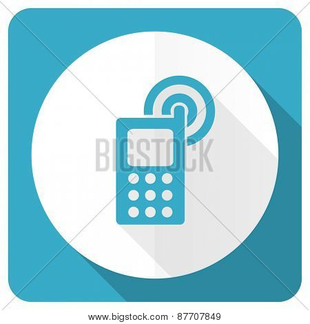 phone blue flat icon mobile phone sign