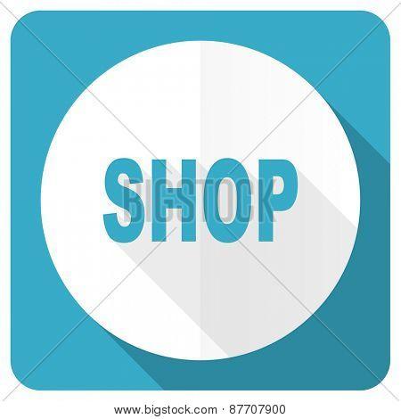 shop blue flat icon