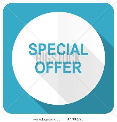 special offer blue flat icon