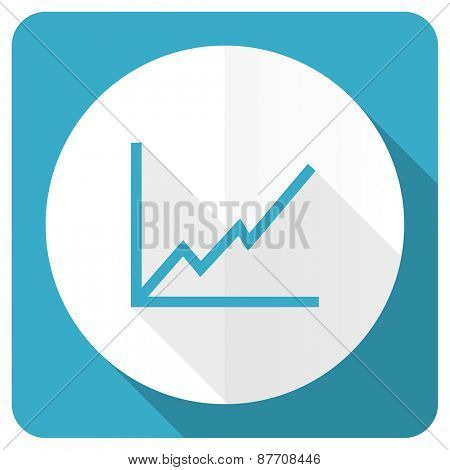chart blue flat icon stock sign