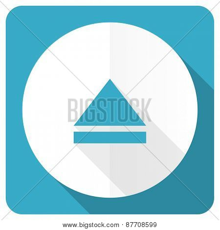 eject blue flat icon open sign