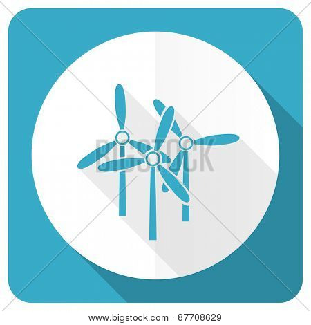windmill blue flat icon renewable energy sign