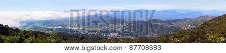 Aerial panorama landscape with Nuwara Eliya and mountains around - Sri Lanka