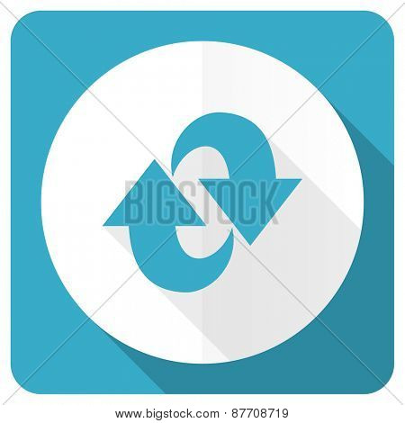 rotation blue flat icon refresh sign