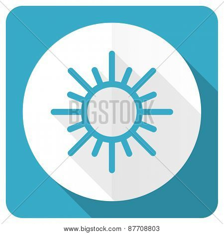 sun blue flat icon waether forecast sign