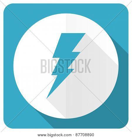 bolt blue flat icon flash sign