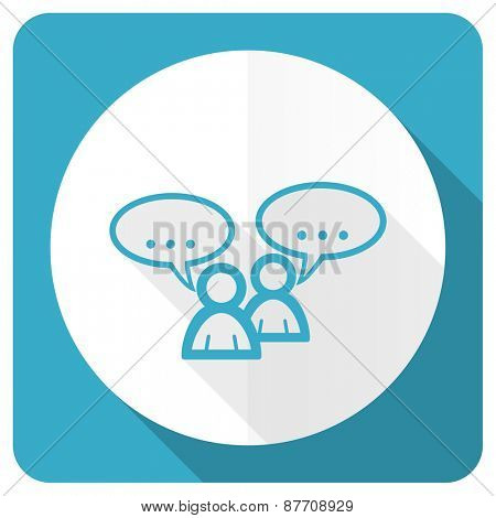 forum blue flat icon chat symbol bubble sign