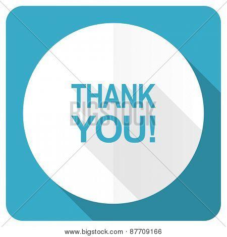 thank you blue flat icon