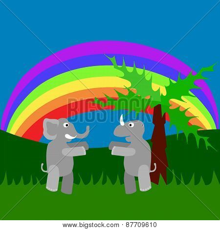 Meeting of rhino and elephant in tall grass under rainbow