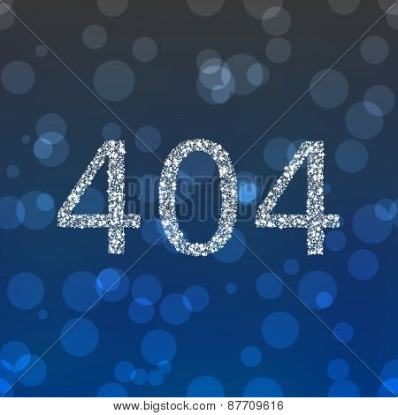 Number 404 composed of snowflakes on gray blue bokeh background