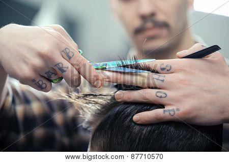 Haircut at barber shop