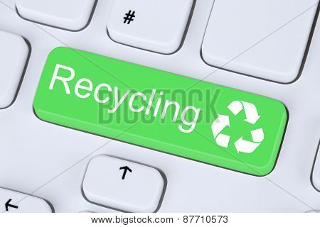 Recycling Button For Recycle Natural Conservation On Computer