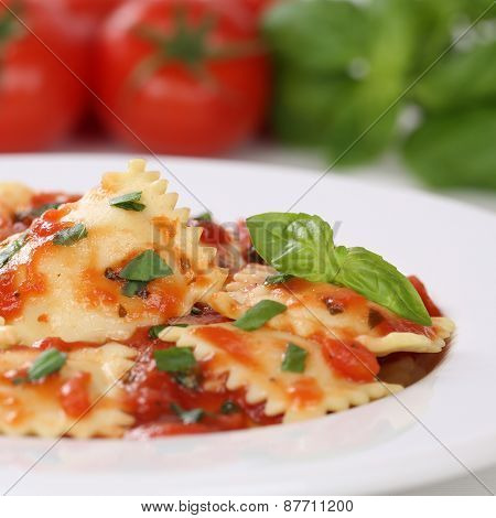 Italian Cuisine Pasta Ravioli With Tomatoes Meal