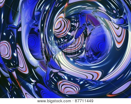 3D abstract illustration with blue shapes