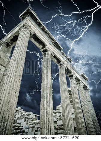 The Acropolis of AThens Greece with thunderstorm and lightnings