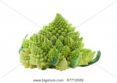 Ripe Vegetable Romanesco Broccoli Or Cauliflower Cabbage Isolated