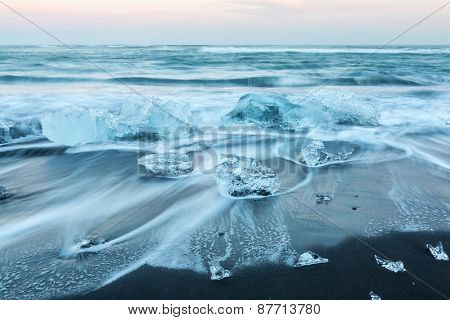 Iceberg beach at Jokulsarlon Iceland sunset