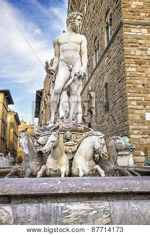 Neptune Statue Near The Old Palace (palazzo Vecchio) On Square Of Signora (piazza Della Signoria) In