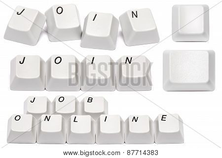 Set Of Words From Computer Keyboard Buttons Isolated On White Background