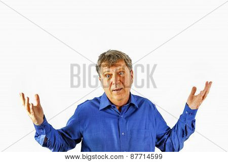 Portrait Of A Senior Man Standing On White Background Showing That He Has A Problem To Solve
