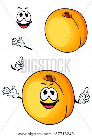 Smiling peach or nectarine fruit cartoon character