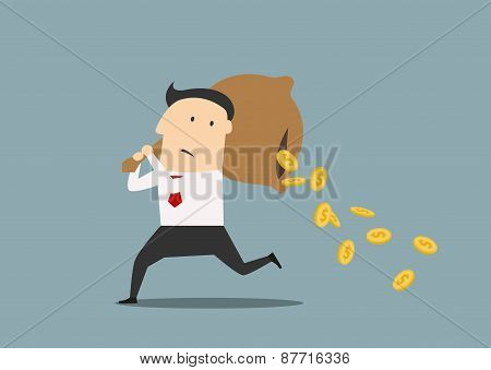 Businessman losing money from a bag