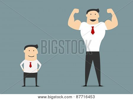 Cartoon small and big businessmen