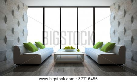 modern interior with two sofas and concrete wall panels 3D rendering