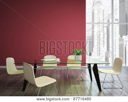 dining room with burgundy walls 3D rendering
