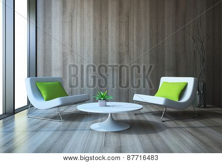Modern interior with armchairs and coffee table 3D rendering