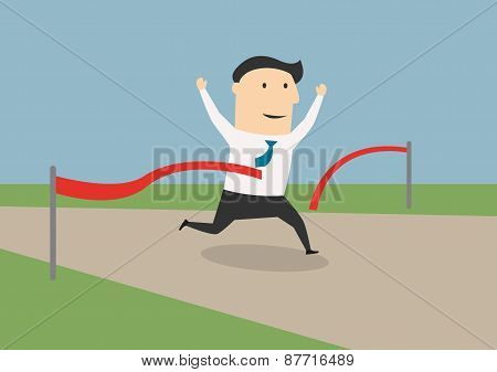 Businessman crossing the finish line