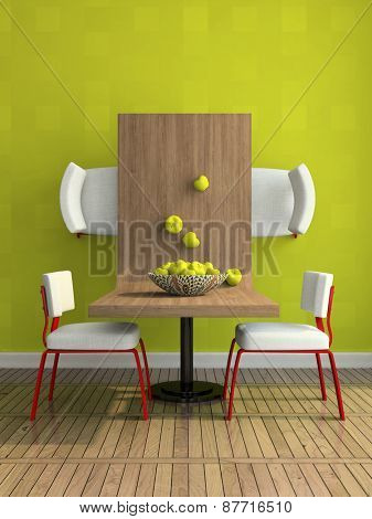 Part of the abstract dining-room illustration 3D rendering