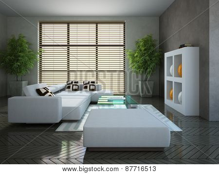 Modern interior with two plants 3D