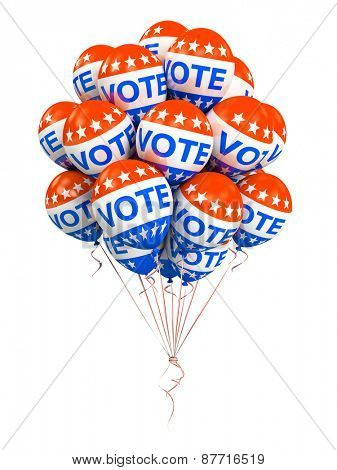 Bunch of american VOTE balloons isolated on white background