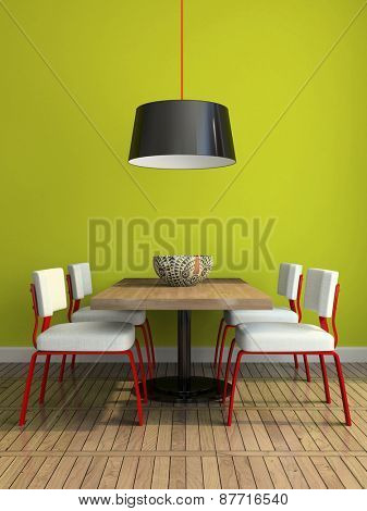 Part of the modern dining-room with green wall illustration 3D rendering