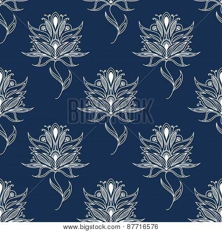 White floral paisley seamless pattern