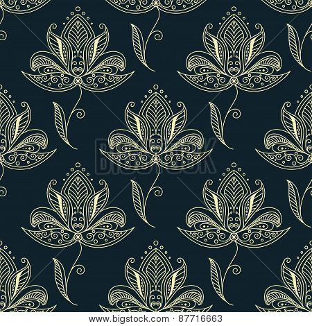 Persian flowers with ethnic ornament seamless pattern