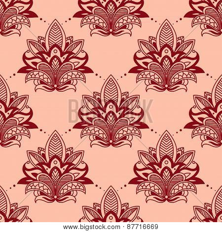 Vintage red flowers in persian seamless pattern