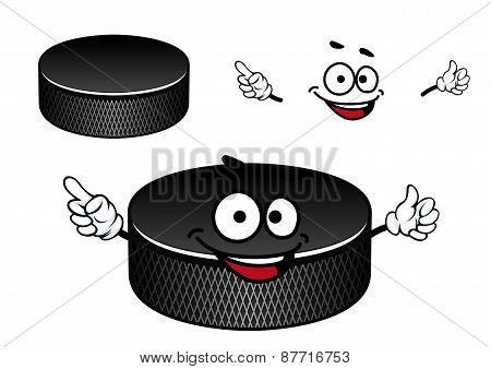 Black rubber ice hockey puck cartoon character
