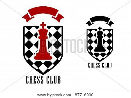 Chess emblem with king on checkered shield
