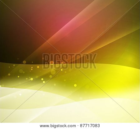 Color yellow red, and light, waves and lines. Abstract background