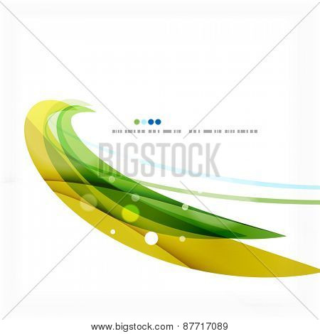 Green and blue light air lines. Modern background design