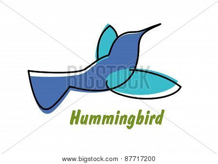 Contoured blue hummingbird in flight logo