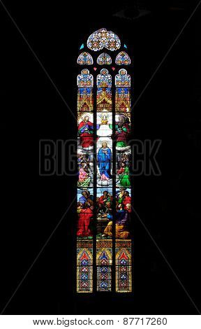 ZAGREB, CROATIA - APRIL 04: Coronation of the Virgin Mary, stained glass in Zagreb cathedral dedicated to the Assumption of Mary and to kings Saint Stephen and Ladislaus in Zagreb on April 04, 2015