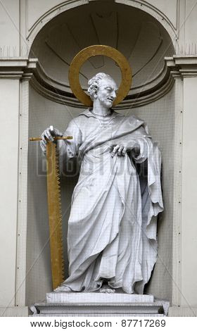 VIENNA, AUSTRIA - DECEMBER 10: St. Simon the Apostle, Church of Saint Peter in Vienna, Austria on December 10, 2011.