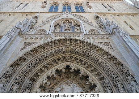 ZAGREB, CROATIA - APRIL 10: Portal of the cathedral dedicated to the Assumption of Mary and to kings Saint Stephen and Saint Ladislaus in Zagreb on April 10, 2015