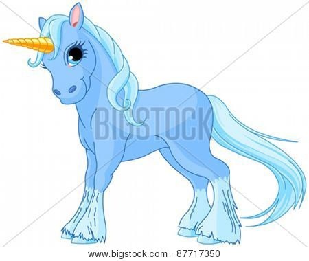 Illustration of standing beautiful cute unicorn