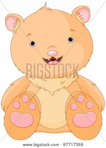 Illustration of happy cartoon smiling bear