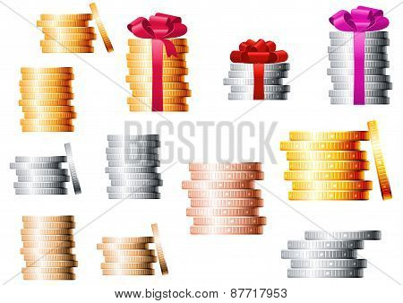 Golden, silver and bronze coin stacks