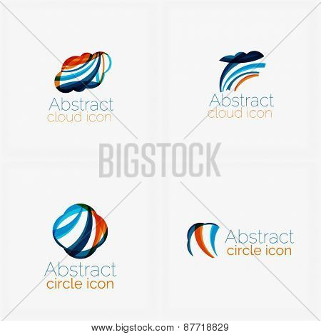Clean elegant circle shaped abstract geometric logo. Universal for any idea. Vector illustration